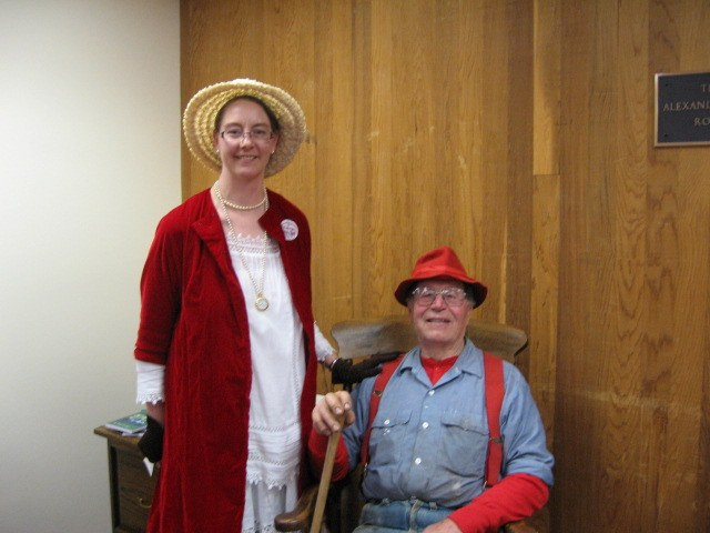 Librarian Sherri with Oregon Bill (Rod Fielder)